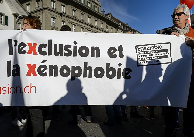 Manifestration à Berne contre une initiative d'expulser les étrangers. Archive photo