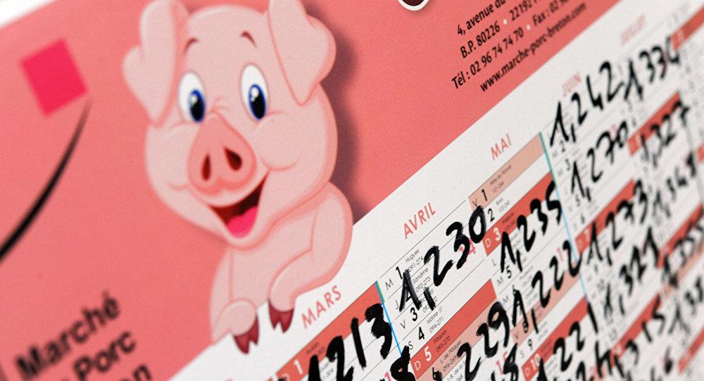 calendrier  avec les prix d'achat de la viande de porc