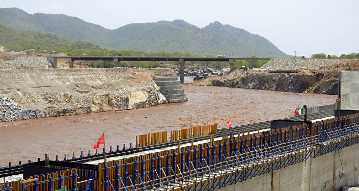 Éthiopie. Nil Bleu. Construction du barrage.