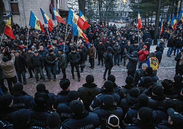 Les désordres de masse devant le parlement moldave