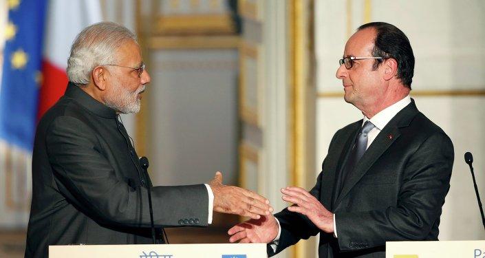 Le premier ministre indien Narendra Modi et le président français François Hollande