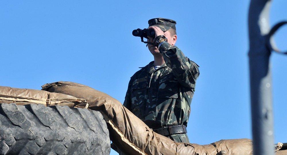 Soldat ukrainien. Image d'illustration