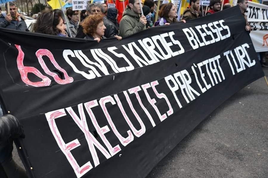 manifestation organisée par le conseil démocratique des kurdes en France