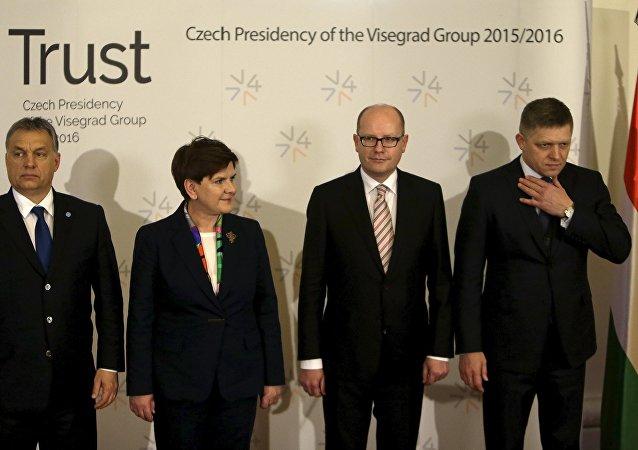 Rencontre des leaders du Groupe de Visegrad (Pologne, Hongrie, République tchèque et Slovaquie)