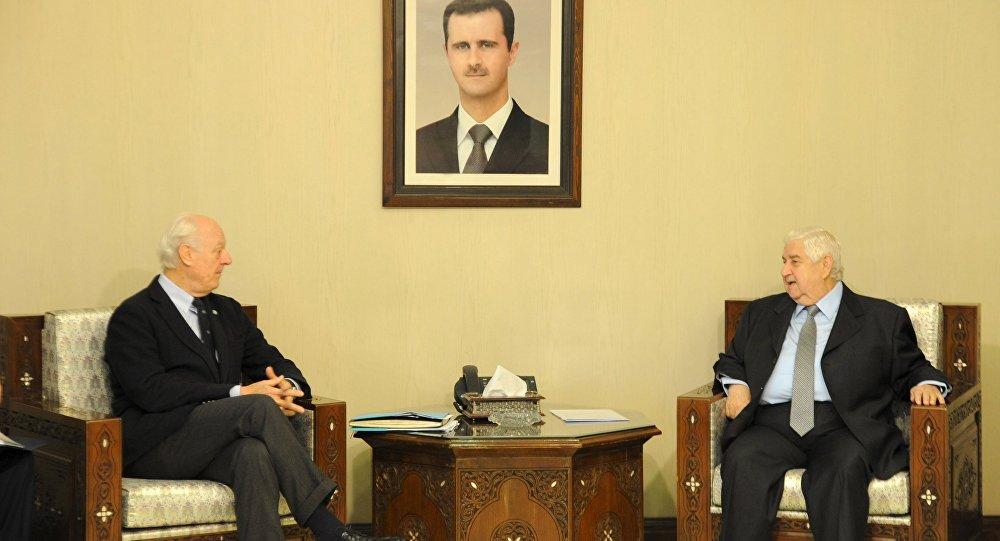 Staffan de Mistura a rencontré le chef de la diplomatie syrienne Walid Mouallem