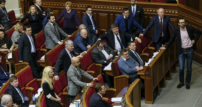 Ukrainian deputies attend a parliament session in Kiev, Ukraine, February 16, 2016 file photo.