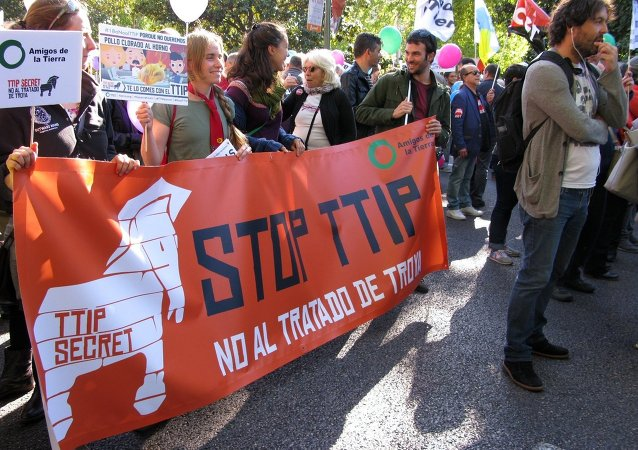 Protestations  contre le TAFTA en Europe