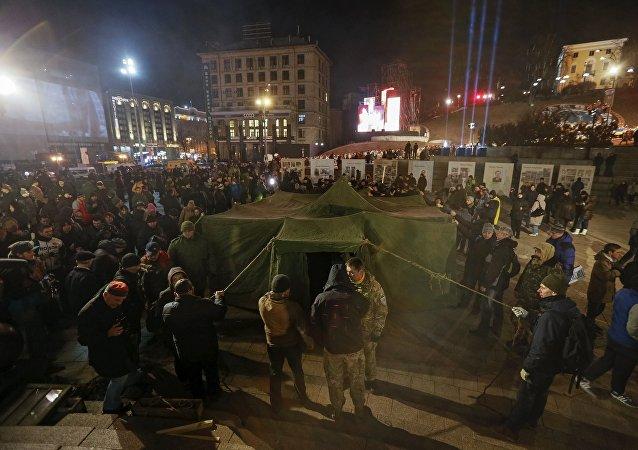Tente sur la place de l'Indépendance, Kiev, Feb. 20, 2016