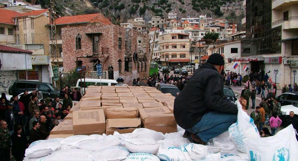 L'aide humanitaire russe livré à la ville syrienne Kessab dans la province de Lattaquié