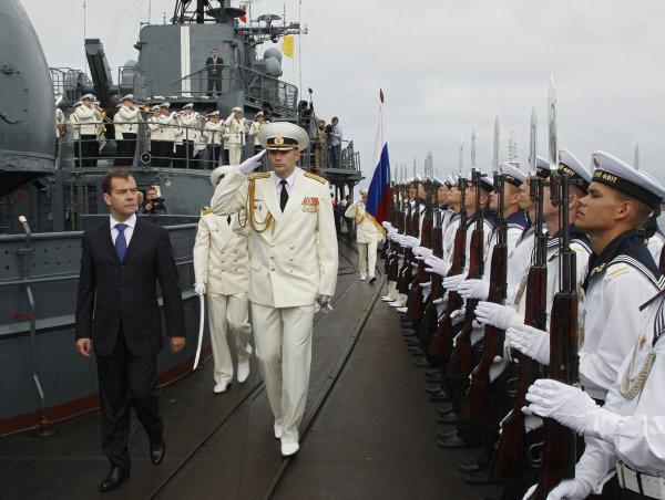 Le président russe Dmitri Medvedev a visité, le 31 juillet 2011, le destroyer Nastoïtchivy, à Baltiïsk.