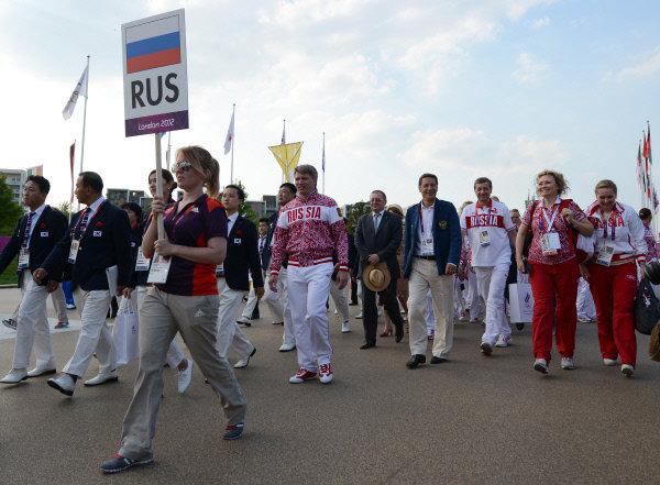 Le drapeau russe dans le village olympique à Londres