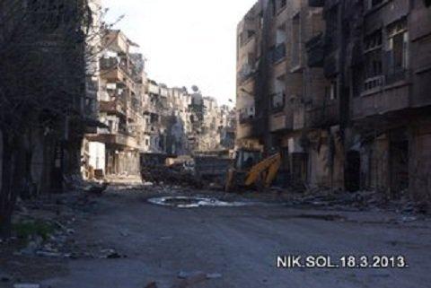 La banlieue ruinée de Darayya