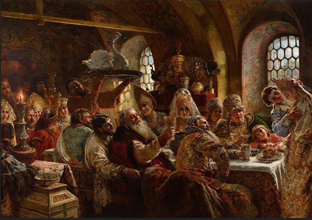 Le festin de noce d'un boyard au XVIIe siècle, Constantin Makovsky