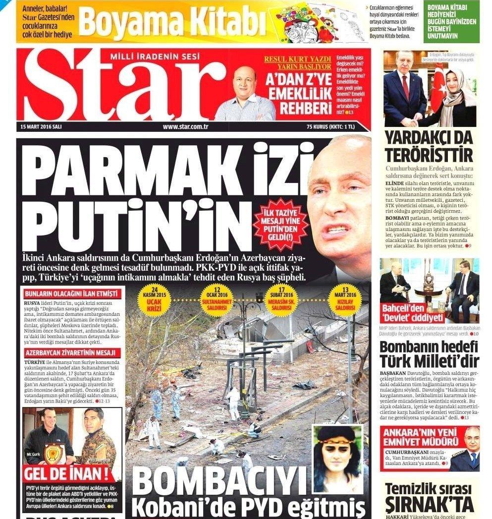 Le journal Star a publié mercredi un article selon lequel la Russie était derrière l'attentat d'Ankara