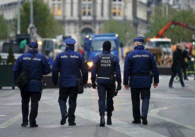 La police belge au centre de Bruxelles