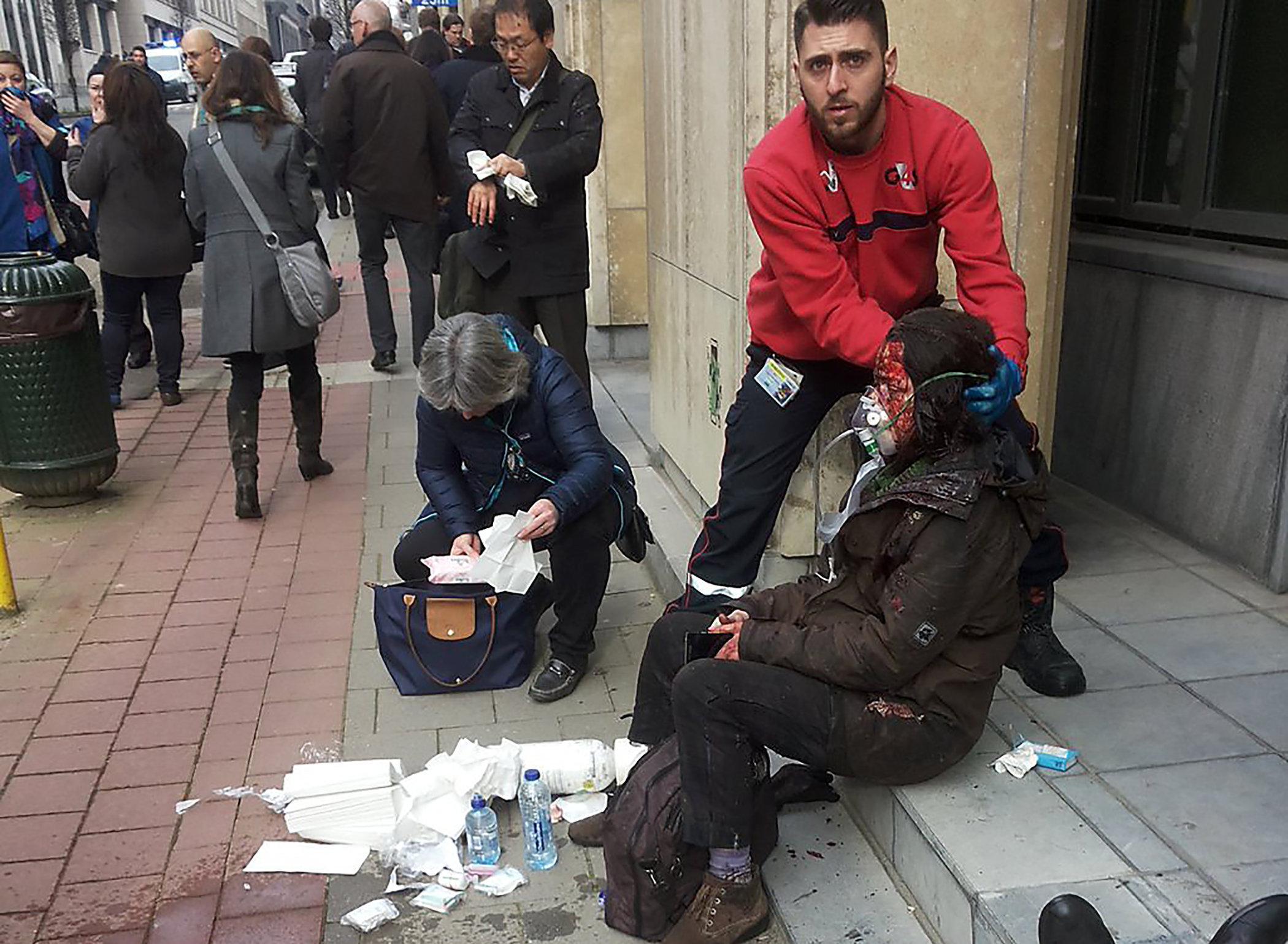 Station de métro de Maalbeek à Bruxelles après une explosion