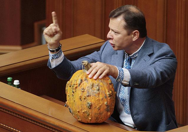 Le nationaliste Oleg Liachko à la tribune de la Rada suprême