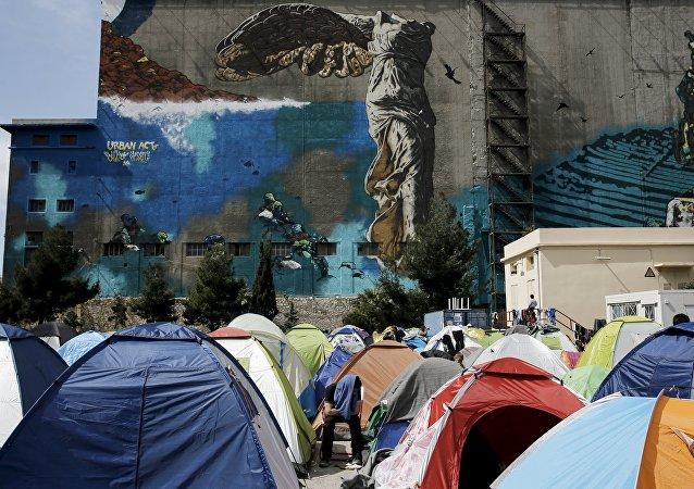 Tentes des réfugiés, Grèce