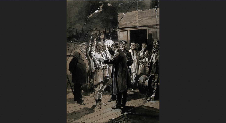 Un médecin examine des matelots