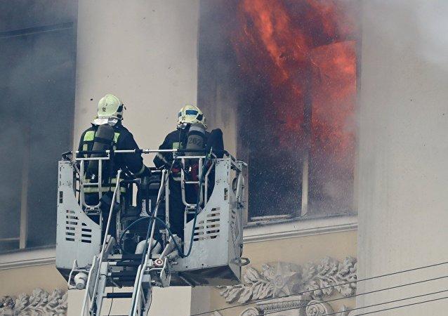 ministère russe de la Défense en flammes