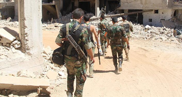 Des soldats syriens à Zabadani.