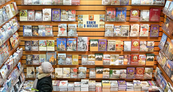 Une librairie de Moscou: rayon des livres consacrés à la capitale russe