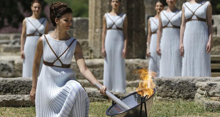 La cérémonie d'allumage de la flamme olympique