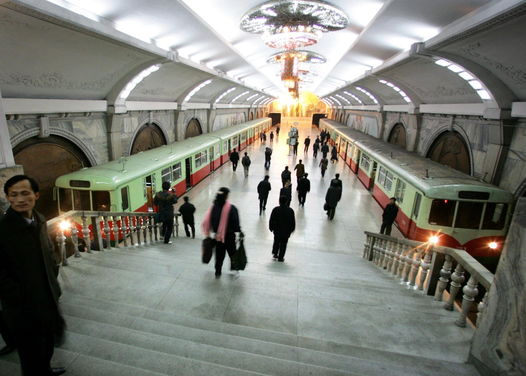 Pedestrians walk through Puhung (meaning rehabilitation) subway station in the North Korean capital of Pyongyang (File)