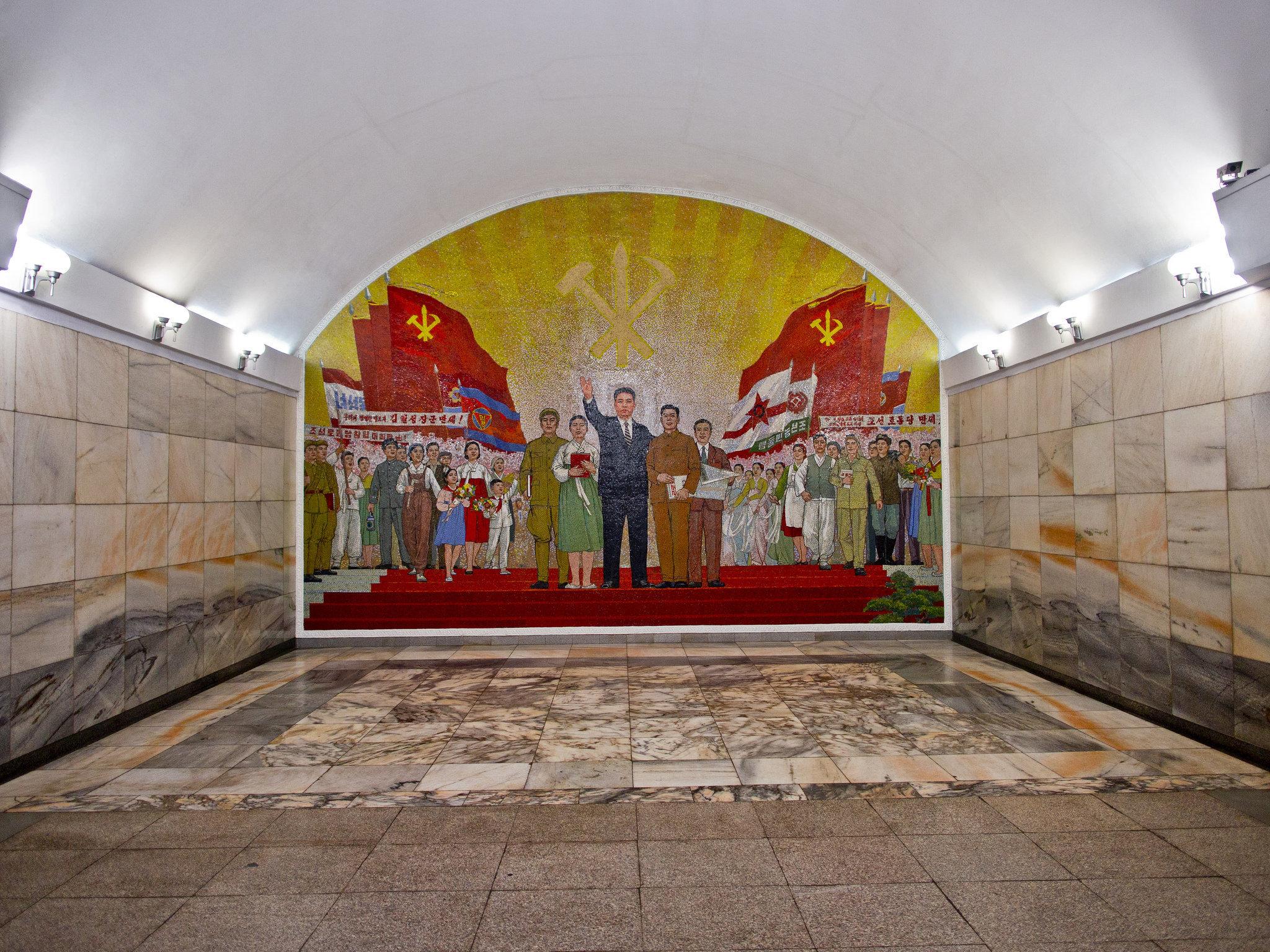 Une station de métro à Pyongyang