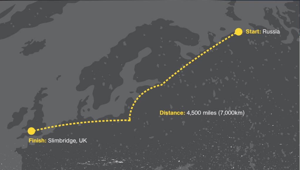 Le chemin de l'expédition de Sacha Dench qui qui va voler avec les cygnes de la toundra russe à Gloucestershire
