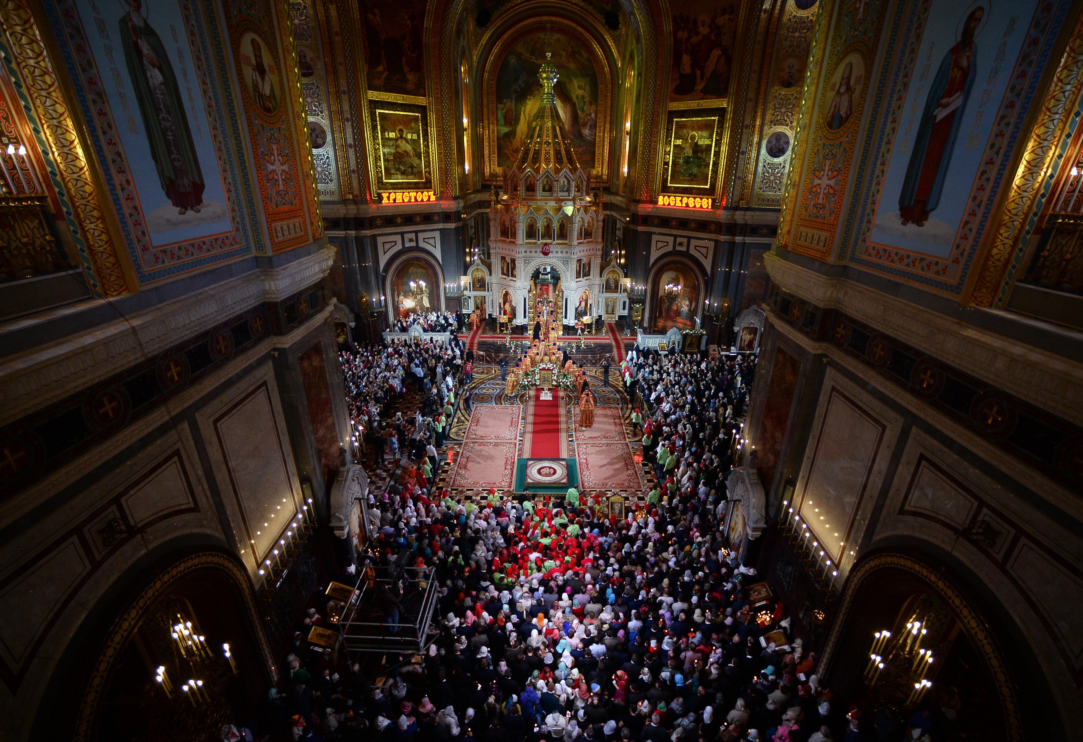 La célébration de la Pâques orthodoxe à Moscou
