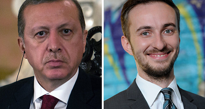 This combo made with file pictures shows Turkish President Recep Tayyip Erdogan (L) in Lima on February 2, 2016 and German TV comedian Jan Böhmermann on February 22, 2012 in Berlin