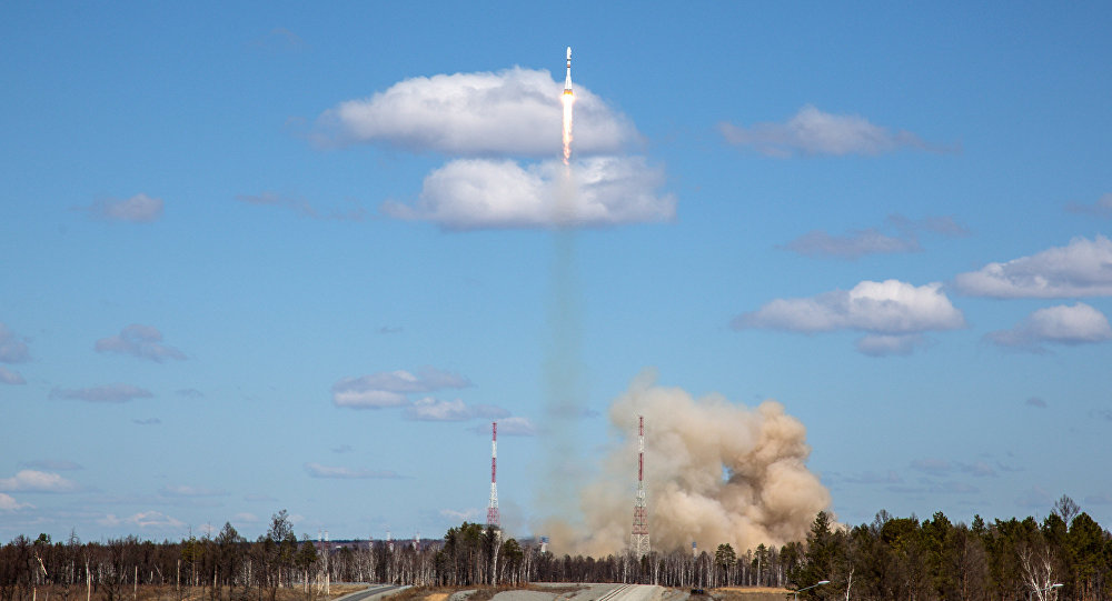 Un lanceur russe Soyouz tiré depuis le cosmodrome de Kourou