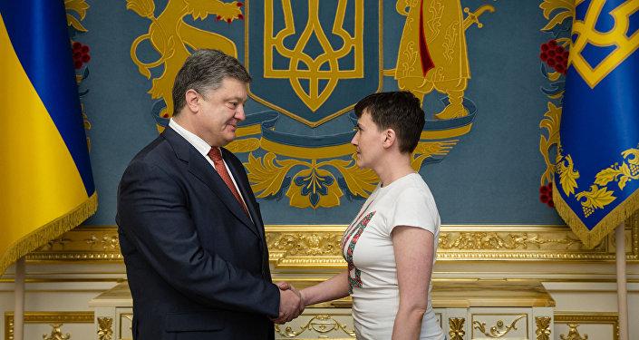 Nadejda Savtchenko et Piotr Porochenko