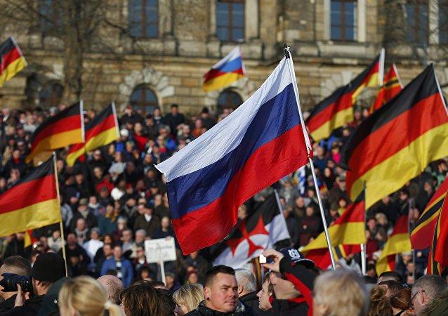 Drapeaux  russe et allemand