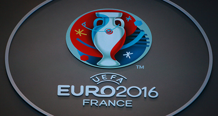 Le logo officiel de l'UEFA lors de l'Euro 2016 à Paris, France
