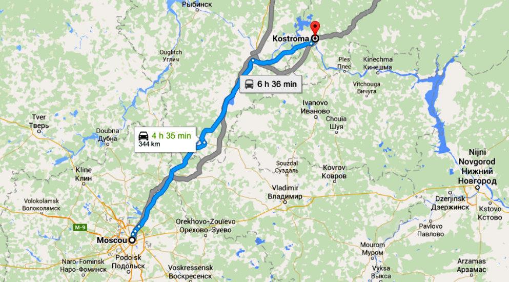 Distance entre les villes de Moscou et Kostroma