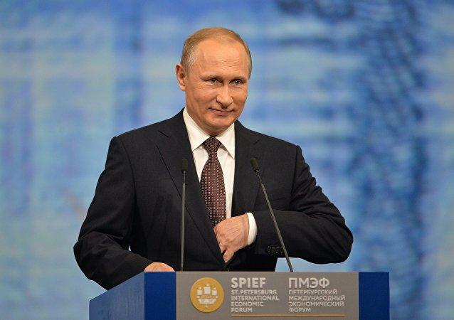 Le président russe Vladimir Poutine au Forum économique de Saint-Pétersbourg.