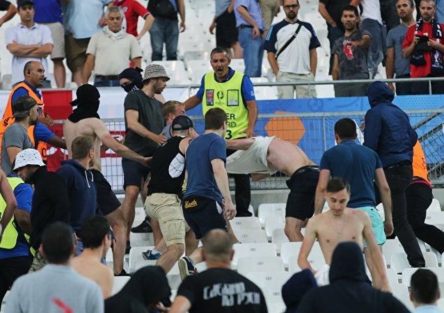 Bagarde lors du match Russie-Angleterre à l'Euro 2016