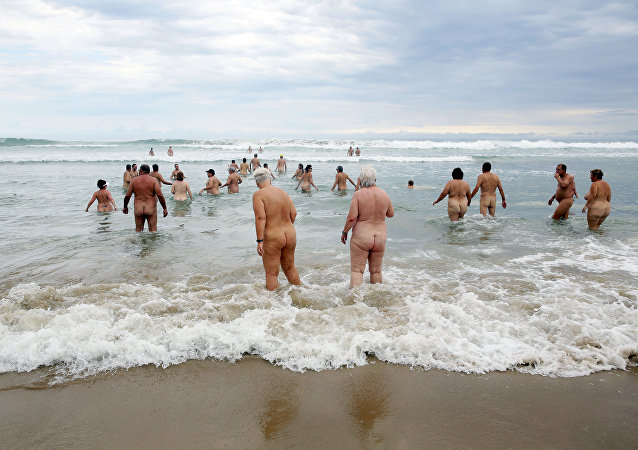Nudistes allemands. Image d'illustration