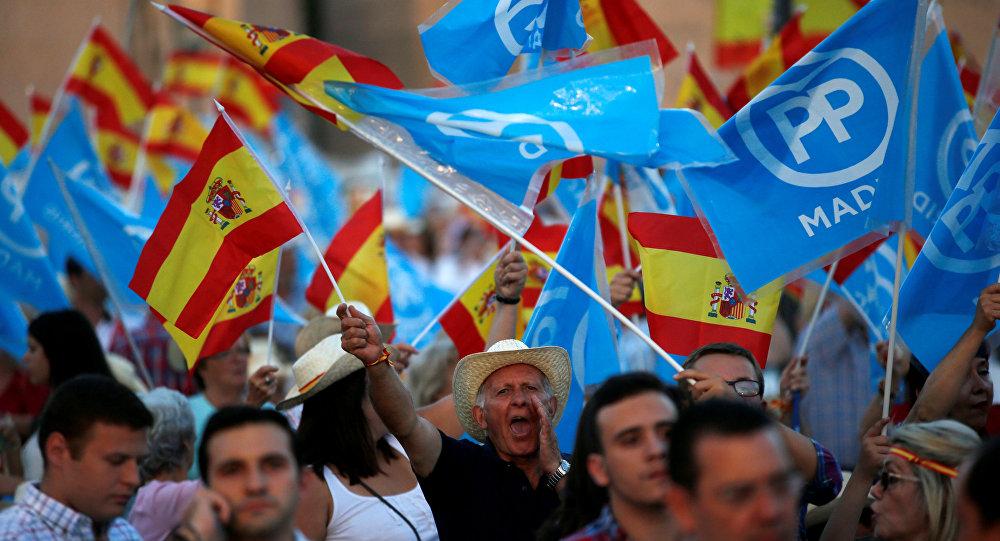 Les partisans du Parti populaire espagnol