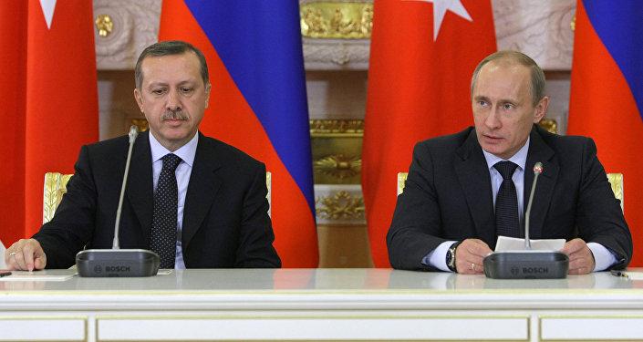 Vladimir Poutine (à droite) et Recep Tayyip Erdogan