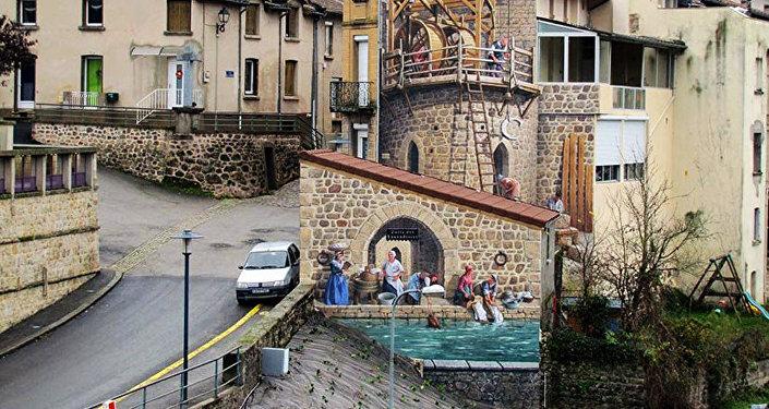 La fresque porte d'Aurec  dans son contexte urbain