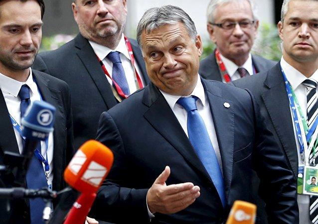 Le premier ministre hongrois après le sommet extraordinaire consacré au crise migratoire actuel, Bruxelles, le 23 septembre