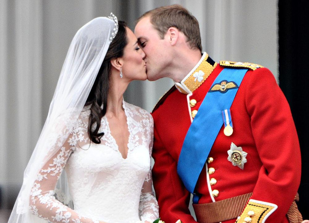 Le Price William et la princesse de Galles Catherine Middleton sur le balcon du Palais de Buckingham.