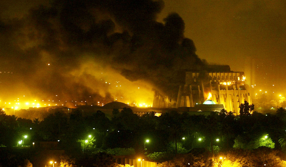 Une explosion après les frappes aériennes de l'Opération liberté irakienne à Bagdad. Photo d'archive.