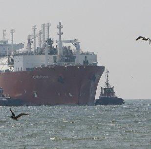 Cargo transportant du gaz naturel liquéfié américain. Image d'illustration