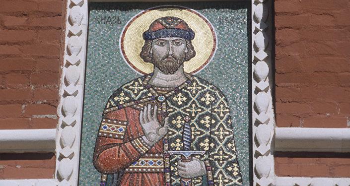 Le prince Alexandre Nevski (mosaïque au Kremlin de Moscou)