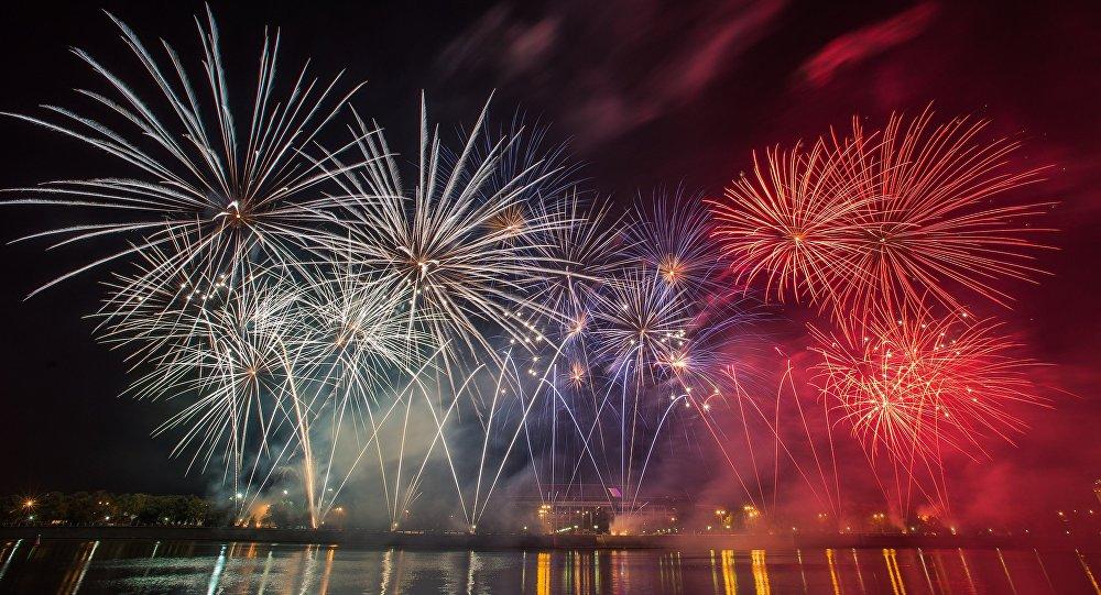 Le festival international de feux d'artifice à Moscou