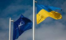Drapeau national de l'Ukraine et le drapeau de l'OTAN
